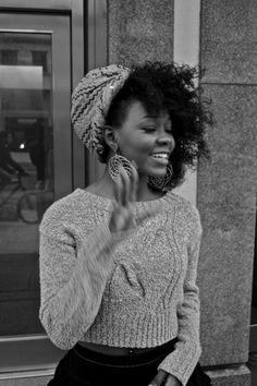 Curls Kinks Natural Hair Black Beautiful Pretty Smile Woman Lady Wrap Sweater black twist out