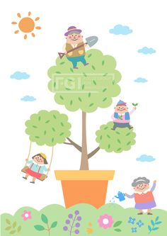 벡터, 에프지아이, 사람, 캐릭터, 오브젝트, 생활, 라이프, 이벤트, 행복, 식목일, 소녀, 소년, 할아버지, 할머니, 단체, 화분, life style, 패밀리데이, SILL165,  일러스트, illust, illustration #유토이미지 #프리진 #utoimage #freegine 19607586