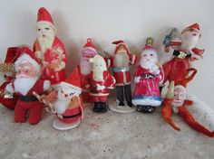 Vintage Santa Claus Ornament & Decor Lot Set of 10 Plastic