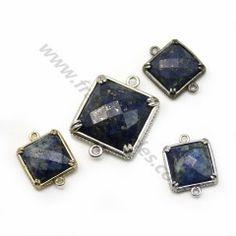 Intercalaire en lapis lazuli, sertie en métal, en forme de carré x 1pc