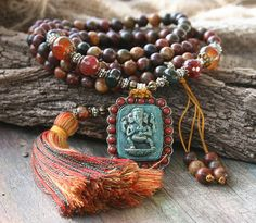 Beautiful jasper gemstone mala necklace by look4treasures on Etsy