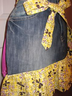 Womens Upcycled Denim Half Apron Made from by ODark30Designs, Perfect for spring :) www.Facebook.com/ODark30Designs