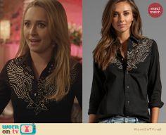 Juliette's black studded western shirt on Nashville. Outfit Details: http://wornontv.net/23765 #Nashville