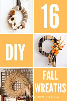 Make your own Fall Wreath for your front door. We collected DIY 16 Fall wreath ideas from crafty bloggers to give you some fall decorating inspiration. If you enjoy crafting your own decor, you can make any of these. Most only require minimal skills. Also visit our Fall page for more ideas on the blog. #falldecorating #diywreath Diy Fall Wreath, Fall Wreaths, Indoor Wreath, Make Your Own, How To Make, Wreaths For Front Door, Fall Decor, Merry, Crafty