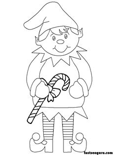 holiday coloring for kids | coloring pages of Christmas Elves kids with candy - Printable Coloring ...