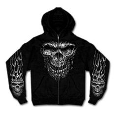 The Shredder Skull Hooded Sweatshirt comes in the color Black and is designed for the biker with style! This 11 oz. Cotton-Polyester blend zip-up hooded sweatshirt contains two front pockets and a large screen printed design of a Shredder Skull on Hoodie Sweatshirts, Zip Hoodie, Skull Hoodie, Hoodie Jacket, Hoody, Armor Shirt, Biker Wear, Biker Shirts, Black Zip Ups