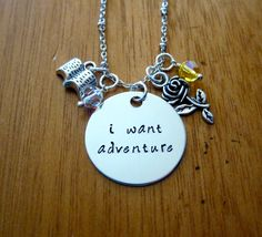 Beauty and the Beast Inspired Necklace. Belle: I want adventure. Silver colored  Swarovski Elements crystal for women or girls by WithLoveFromOC (item: 20158191520)