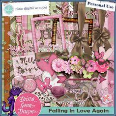 Falling In Love Again Kit by Digital Gator Designs #PDW #plaindigitalwrapper #scrapbookkit #digital #digitalscrapbook #hybrid #pagekit #digitalgatordesigns