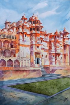 This is the main enterence of The City Palace,situated in heart of the Lakecity i.This palace is one of the biggest palace complexes of India.The unique Rajput style of architecture make it very different from other palaces. Watercolor Paintings For Beginners, Watercolor Landscape Paintings, Landscape Art, Architecture Drawing Art, Watercolor Architecture, Disney Drawings Sketches, Girly Drawings, Black Canvas Paintings, Indian Art Paintings