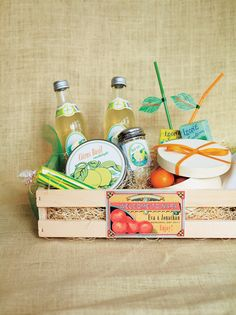 Sunny Guest Welcome Basket from Matthew Robbins Design |  via Mary Snipes & Ink