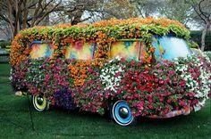Hippie flower-bedecked van