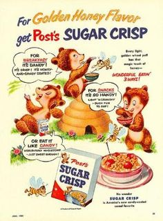 A fabulously cute Post's Sugar Crisp cereal ad from 1954. #bears #1950s #vintage #ads by lindsay0