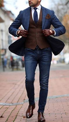 7 Menswear Fashion Myths That Are Completely Wrong. Should a guy combine black a. 7 Menswear Fashion Myths That Are Completely Wrong. Should a guy combine black and brown, his belt with his shoes, o Blazer Outfits Men, Blazer Jeans, Mens Fashion Blazer, Stylish Mens Outfits, Suit Fashion, Brown Blazer, Men Blazer, Boy Outfits, Blazer Bleu