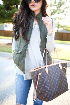 louis vuitton bag, blue jeans. Street women fashion outfit clothing stylish apparel @roressclothes closet ideas