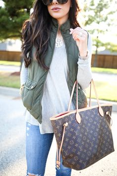 louis vuitton bag, blue jeans. Street women fashion outfit clothing stylish apparel @roressclothes closet ideas