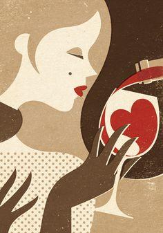 Winter Wine Art Print pouring red heart into woman's glass of wine Chez Julien, La Trattoria, Wine Poster, Wine Gift Baskets, Woman Wine, Wine Art, Vintage Wine, In Vino Veritas, Heart Illustration