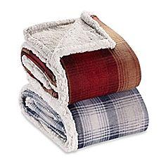 image of Eddie Bauer® Nordic Plaid Flannel Throw Blanket
