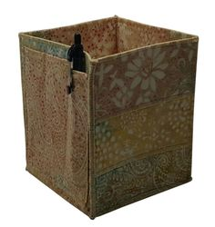 Table Top Organizer Pencil Box in Beige Batik by Sieberdesigns