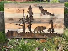 Rustic bear and eagle in the nature wood wall art by Bayocean Rustic Design