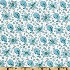 Lites & Brites Paisley Floral White/Aqua  fabric.com
