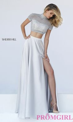 Prom Dresses, Celebrity Dresses, Sexy Evening Gowns: High Neck Two Piece Sherri Hill Dress with Short Sleeves