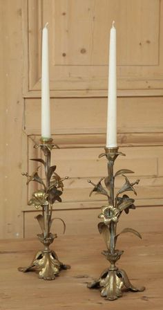 Antique Store Online ~ Belle Brocante ~ www.inessa.com ~ Pair Antique Bronze Candelabra - Inessa Stewart's Antiques Vintage Candle Holders, Candlestick Holders, Candlesticks, Candle Lamp, Candle Lanterns, Chandeliers, Paneled Walls, Old Shutters, Antique Paint
