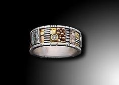 """""""Silver and Gold Mosaic Ring with Diamond"""""""