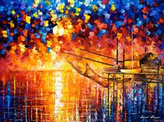 "Wooden Dock — PALETTE KNIFE Seascape Contemporary Wall Art Deco Oil Painting On Canvas By Leonid Afremov - Size: 40"" x 30"" (100 cm x 75 cm)"