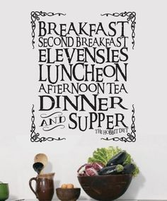 Show you are a fan of the shire with our V2 meal wall decal. Great for kitchen or dining decor for fans.   This decal is offered in the following sizes 12x10 inches 22x18 inches 28x24 inches 41x34 inches   The larger decals will come in sections with easy to install instructions. This makes