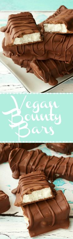 Vegan Chocolate Coconut Bars (Vegan Bounty Bars). A creamy coconut center smothered in vegan chocolate! Vegan | Vegan Chocolate | Vegan Coconut Bars | Vegan Bounty Bars | Vegan Dessert | Dairy Free | Gluten Free | Gluten Free Vegan