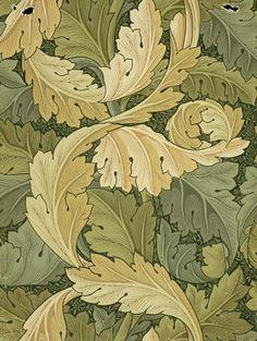 William Morris - Wallpaper Design with Acanthus / Woodland colors, 1875
