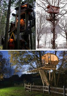 This first fantastic tree house is located in British Columbia in the wild and awesome Enchanted Forest. Children must love spending a day playing around in a house that looks like it's straight out of a fairy tale. The second tree house seems impossibly high, and must be a great spot to get away from the world. Aforementioned German group Baumraum creates amazing tree houses that are incredibly sophisticated, like this one overlooking a fenced grassy plot.