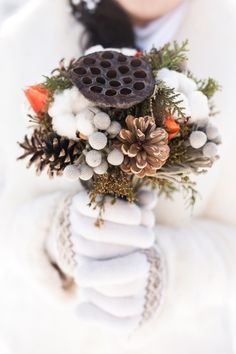 Beautiful bridal wedding bouquet in hands of bride made from dried lotus flower, cotton, pine cones. Wedding Props, Tent Wedding, Simple Church Wedding, White Wedding Decorations, Wedding Entrance, Wedding Pinterest, Industrial Wedding, Wedding Bouquets, Inspiration