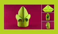 Instructions for folding lily green towels Bunny Napkin Fold, Easy Napkin Folding, Origami Youtube, Christmas Tree Napkins, Puppet Patterns, Wedding Napkins, Christmas Angels, Craft Tutorials, Jars