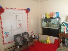 Reading nook for Dr. Seuss party. Cat in the Hat super easy DIY backdrop!