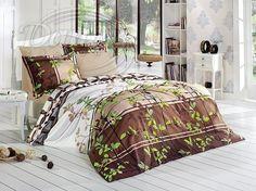 Jakostní povlečení z pevné bavlny s přírodními motivy v krásných odstínech hnědé barvy.     Vzor je oživen jasně zelenými lístky.     Povlečení je vyrobeno ze 100% bavlny.     Zapíná se na zip.
