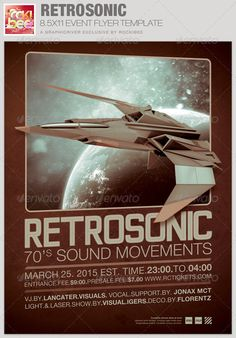 This RestroSonic Event Flyer Template is sold exclusively on graphicriver, it can be used for your Birthday Parties, Music/Club Events or for any other marketing projects. The files are easy to modify, change colors, dimensions and all text are editable