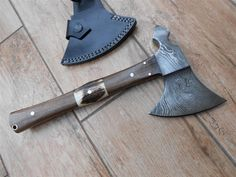 Tomahawk style Camping and Bushcraft Axe - hand forged Damascus steel