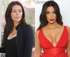 Kim Kardashian: with and without make-up