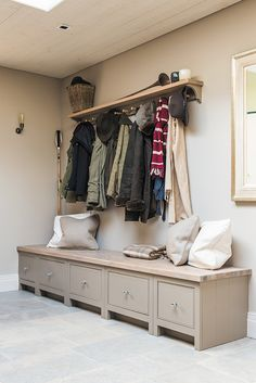 Hallway Storage Bench With Coat Rack Uk.TETBURY White Bench With Storage Baskets Hallway Hanging . Large Painted Bench Hall Unit With Coat Shoe Storage . Thrift Shoe Racks For Closet Uk Home Decor. Home and Family Hallway Storage Bench, Hallway Shelf, Porch Storage, Bench With Storage, Wall Storage, Diy Storage, Hallway Entrance Ideas, Hall Storage Ideas, Boot Room Storage