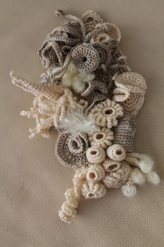 Coral Reef / Freeform Crochet Wall Hanging / Sculpture.