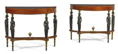 A pair of Italian Neoclassical part-ebonized and parcel-gilt mahogany demi-lune console tables part late 18th century