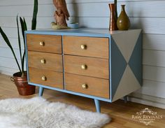 Vintage Retro Blue and White Geometric Chest of Drawers