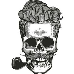 Buy Skull T-Shirt Print by FoxyImage on GraphicRiver. Hipster skull silhouette with mustache, beard, and tobacco pipes. Sticker that represents skull character. Skull Tattoos, Body Art Tattoos, Cool Tattoos, Pretty Tattoos, Mens Tattoos, Future Tattoos, Tattoos For Guys, Tattoo Homme, Skull Silhouette