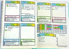 Weekly Bullet Journal Layout|Horizontal time tracker Most important tasks Mood tracker  Color-coded priority tasks Focus area each day with the top 3 priorities