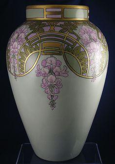 Large Bernardaud & Co. (B) Limoges Art Nouveau Wisteria Motif Vase (c.1900-1914) | JV