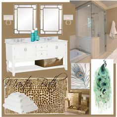"""Peacock and Gold Master Bath"" by whitney-dasch on Polyvore"
