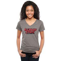 Illinois State Redbirds Women's Classic Wordmark Tri-Blend V-Neck T-Shirt - Heather Gray