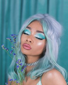 Beautiful Hair Color, Cool Hair Color, Gorgeous Makeup, Aesthetic Hair, Aesthetic Makeup, Green Hair, Blue Hair, Color Fantasia, Pretty Hairstyles