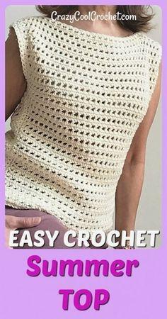 Free crochet pattern for this easy... Eezy... Ochet summer top. Very easy for crochet beginners. Débardeurs Au Crochet, Crochet Tunic Pattern, Pull Crochet, Crochet Shirt, Crochet Woman, Easy Crochet Patterns, Crochet Edgings, Knitting Patterns, Crochet Vests